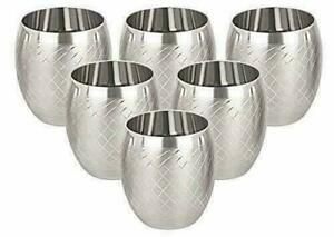 Stainless Steel Water Glass- 6 Pieces, Silver, 260 ml