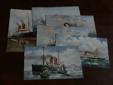 More details for original set of six celebrated liners tuck postcards - the cunard no. 9106.