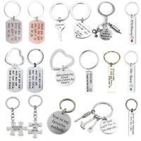 Stainless Steel Pendant Gift For Mom Dad Lovers Keyring Keychains Key Chain Ring