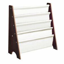 Wooden Kids Book Shelf Sling Storage Rack Organizer Bookcase Display Walnut