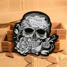 8Pcs SKULL WITH FLOWERS Small Embroidered Iron On sew On Patch HGUK