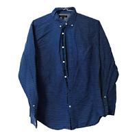 Banana Republic Mens Large Oxford Shirt Slim Fit Blue Striped Long Sleeve Button