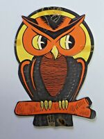 Vintage Die-cut Embossed Halloween Decoration Owl on Branch H.E. Luhrs