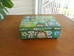 Vintage Antique Chinese Enameled Cloisonne Footed Trinket Box