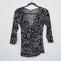 Jane Lamerton Womens Faux Wrap Top Stretch Black White 3/4 Sleeve V Neck Size 8