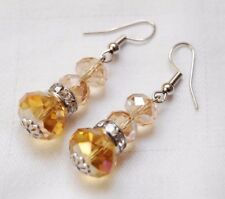Handmade crystal earrings silver plated amber crystals free stoppers