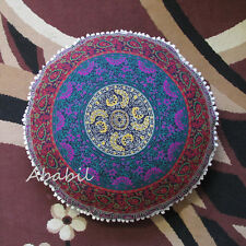 Round Pillow Covers Indian Mandala Floor Pillow Cushion Pouf Ottoman Cover Throw