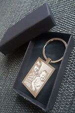 Personalised Photo engraved  & Text Engraved Rectangle Keyring