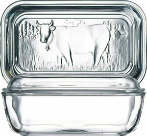 Cow Glass Covered Butter Dish by Luminarc, 7x8 inch. Symbol 2021