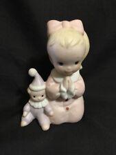 "Homco 1433 Porcelain Figurine Small Girl W/Clown Praying on Knees 3.75"" H"