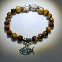"Handmade Cross bracelet with ""Jesus"" charm Stretch 8mm"