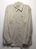 EDDIE BAUER Mens Large Casual Outdoor Long Sleeve Shirt Beige Roll Tab Sleeve