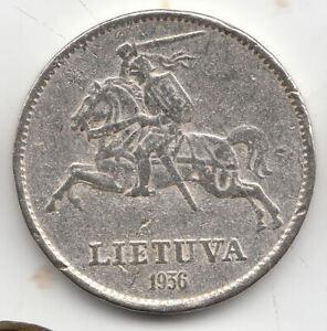 Lithuania silver 10 litu 1936 scarce          208m     BY COINMOUNTAIN