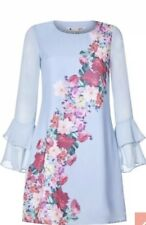 Yumi Watercolour Rose Placement Tunic Dress Pale Blue Size 10 Rrp £50