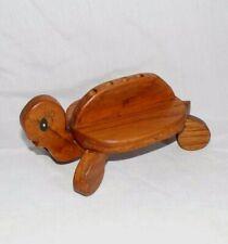 New Listingvtg Wood Wooden Animal Turtle Office Desk Paper Weight Pen Pencil Holder Figure