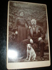 Old cabinet photograph man woman outside with their dog c1890s ref 33z3