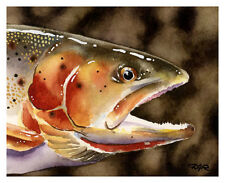 Cutthroat Trout Watercolor Painting Fishing Art Print by Artist DJ Rogers