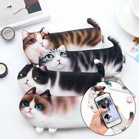 Cute 3D Cat Makeup Cosmetic Case Pen Pencil Bag Coin Pouch Purse Storage Travel