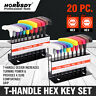 20Pc SAE Metric T Handle Allen Wrench Hex Key Set With Holders Color distinguish
