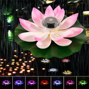 Solar Outdoor Floating Lotus Light Pool Garden Water Flower LED Lamp Light Decor