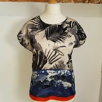 Phase Eight Top Size 10 Floral & Contrast Mountain Scene Casual Summer Holiday