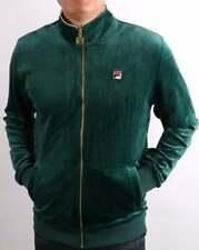 Fila Vintage Men's Velour Track Top Green - Irving Tracksuit Jacket