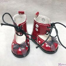 Mimiwoo Yo SD 1/6 bjd Doll Shoes Lace Hole Boots Red (for Foot 4.5cm long)