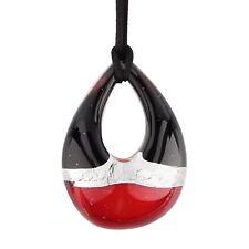 Bigiotteria regalo donna pendaglio rosso collana vetro Murano foglia d'argento