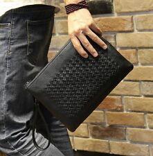 Fashion Men's Clutch Handbag Black Leisure Envelope Bag Business PU Leather Bag