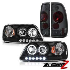 F150 Lariat 2001 2002 2003 LED 2x Halo Headlamp Rear Smoked Brake Tail Light Set