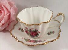 Vintage Antique Fine Bone China Tea Cup Saucer Set England Brama Roses Gold Rim