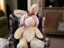 "Russ Brand 13 inch  ""Bonnet"" bunny with pink hat"
