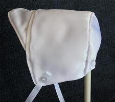 New Handmade White Satin Baby Boy Bonnet