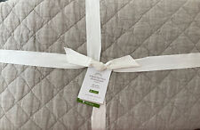 New ListingPottery Barn Belgian Flax Linen Diamond Quilt - Full/Queen F/Q - Eucalyptus