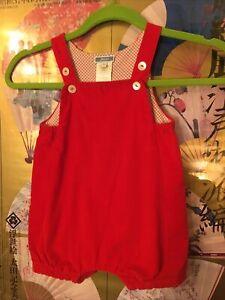 JACADI Paris Baby 12 Mon RED Pin Whale CORDUROY ROMPER Christmas & Anytime NICE!