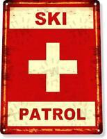 Ski Patrol Ski Slopes Lift Lodge Resort Expert Rustic Metal Decor Sign