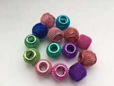 10 pcs Mixed Colour Hollow Mesh Aluminium Beads - Fit European Jewellery 10mm