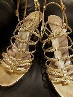 Valentino Garavani 40 Gold Metallic Leather Strappy Gladiator Heels Sandals