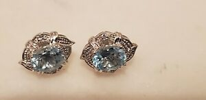 Blue Topaz 925 Sterling Silver Earring - Stud Jewelry 3 ct. stunning