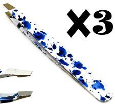 3× Premium Tweezers Blue/White Slanted Tip Eyebrow Hair Removing Beauty Tools
