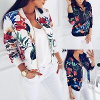 Femmes Floral Imprimé Manches Longues Cropped Manteau Fermeture Veste Outwear