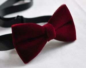 Burgundy Red Velvet Bow tie for MEN / Youth Teenage / Kids Boy / Baby infant
