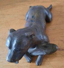 More details for original north light metal dog figurine signed artist  anne godfrey1986 staffy