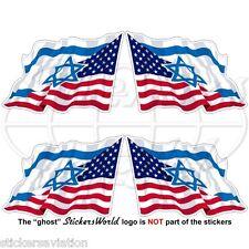 USA United States America-ISRAEL American-Israeli Flying Flag 50mm Stickers x4