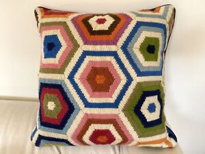 Jonathan Adler Bargello Needlepoint Pillow Rainbow Flame Geometric MCM Wool