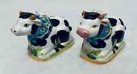 Black And White Cow With Sunflower Scarf And Bird Salt and Pepper Shakers