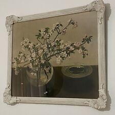Vintage GLASS Antique Garden PRINT Floral FLORAL White FRAME Ornate