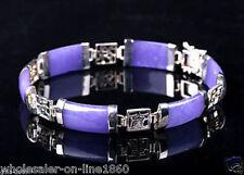 Vintage Natural Lavender Jade 18KGP Fortune Luck Link Bracelet 7.5''