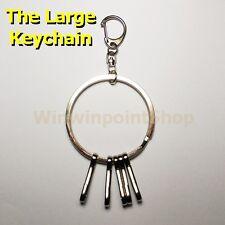 Fashion Split Keychain Spring Hook 5 Key Holders Big O Ring Nickel Silver Color