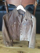 BEAUTIFUL CHOCOLATE BROWN GAP 100% LEATHER JACKET SILVER BUTTONS CLASSIC XS